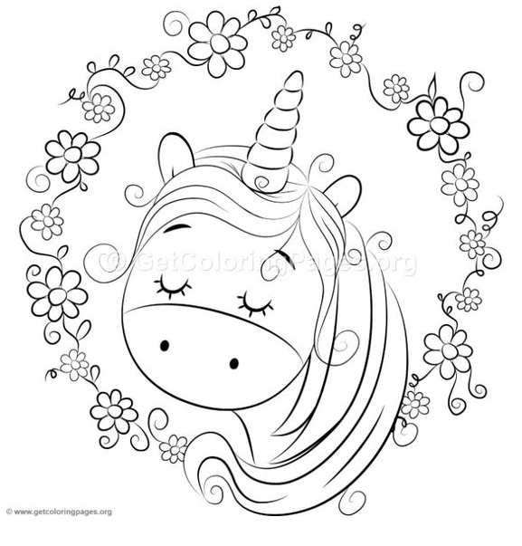 Baby Unicorn Slepping  Coloring Page