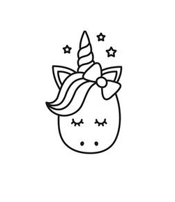 Unicorn Head Hello Kitty  Coloring Page