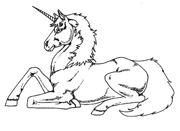 Unicorn Coloring Resting  Coloring Page