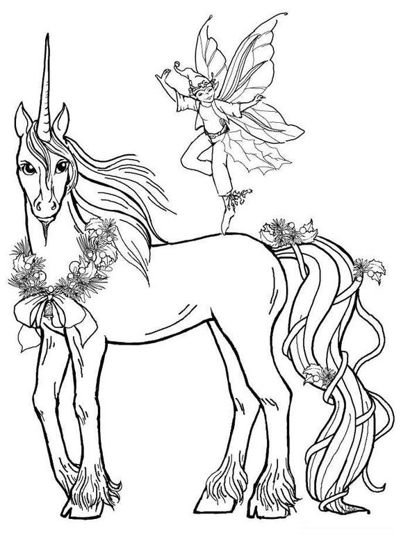 Unicorn Coloring And Fairy Coloring Page
