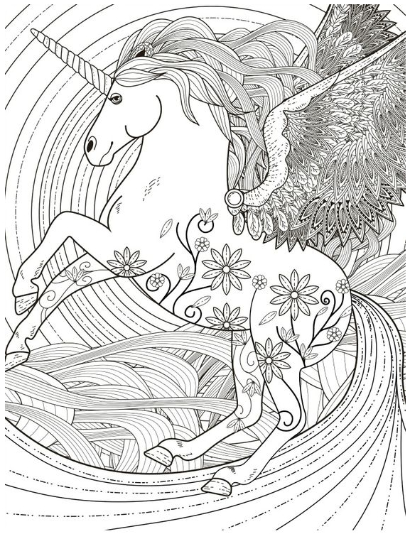 Unicorn Coloring Magical  Coloring Page