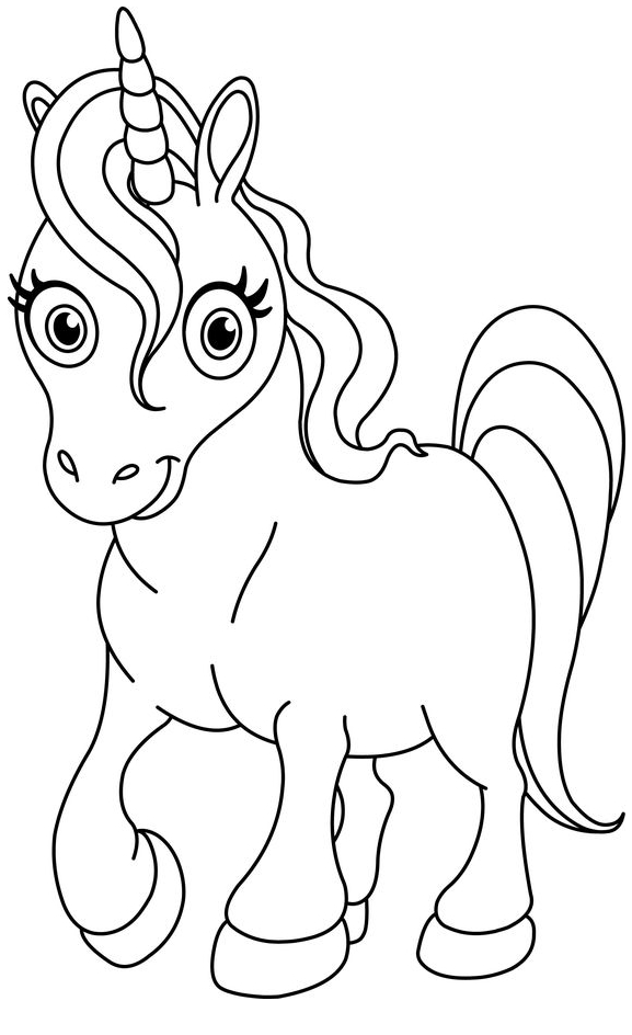 Baby Unicorn With Nice Horn Coloring Page