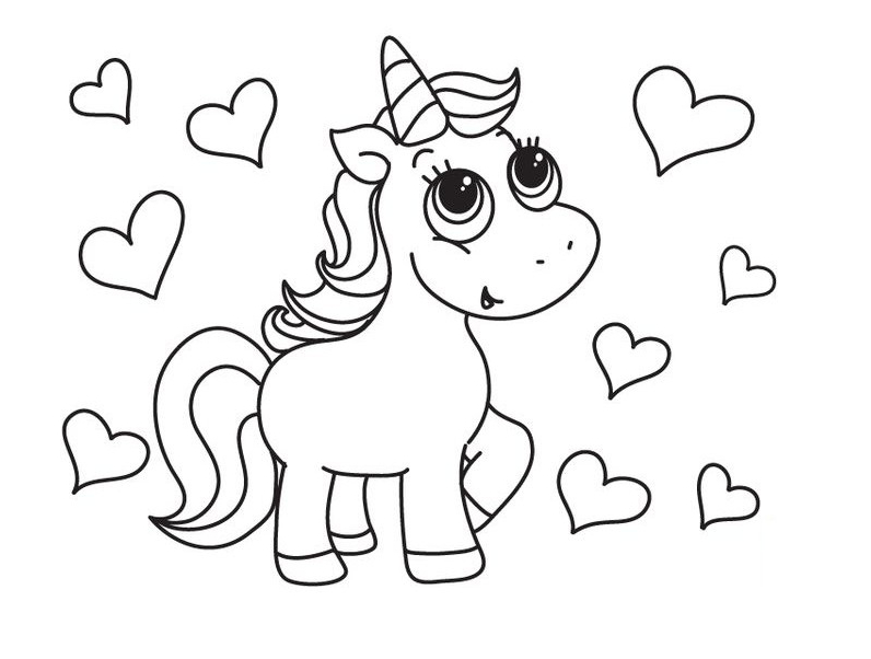 Unicorn Coloring And Heart Coloring Page