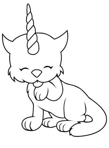Caticorn Coloring Page Coloring Page