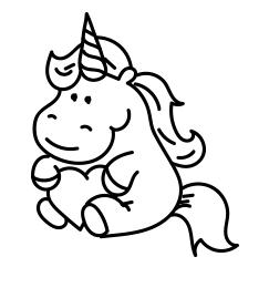 Cute Unicorn Kawaii Coloring Page  Coloring Page