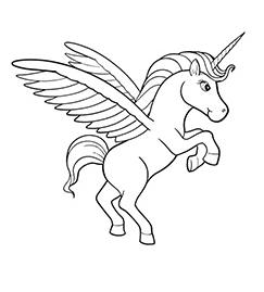 Beautiful Lila Unicorn  Coloring Page