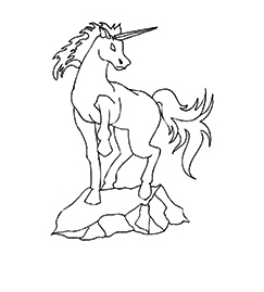 Shadhavar Unicorn Standing on Road Coloring Page