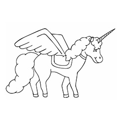 Beauty Of Black Unicorn Coloring Page
