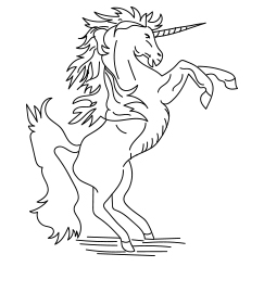Unicorn Coloring Pages Rearing Coloring Page
