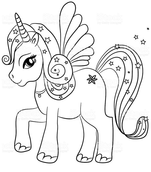 Black And White Unicorn Coloring Sheet  Coloring Page