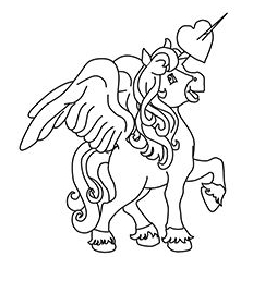 Princess Unicorn Coloring With Horn Coloring Page