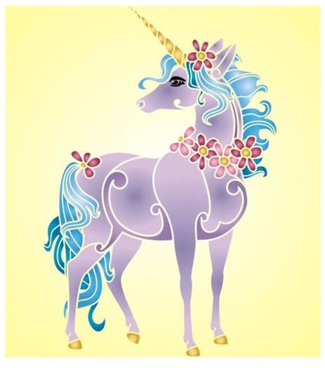 Unicorn Stencil  Coloring Page