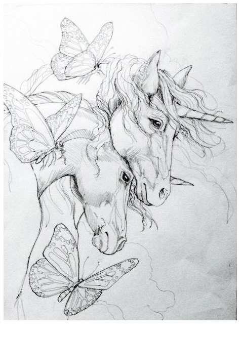 Two Unicorn Coloring Heads Coloring Page