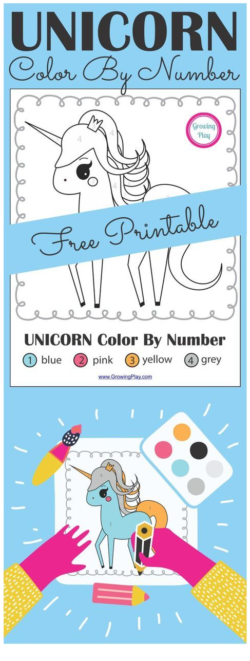 Unicorn Color By Number  Coloring Page