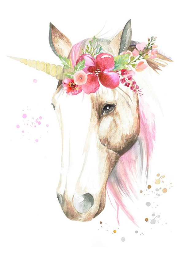 Watercolour Unicorn With Flower Crown Coloring Page