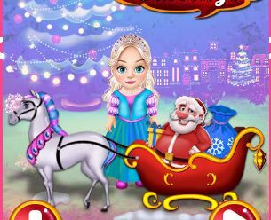 Little Elsa Clean Christmas Carriage Game