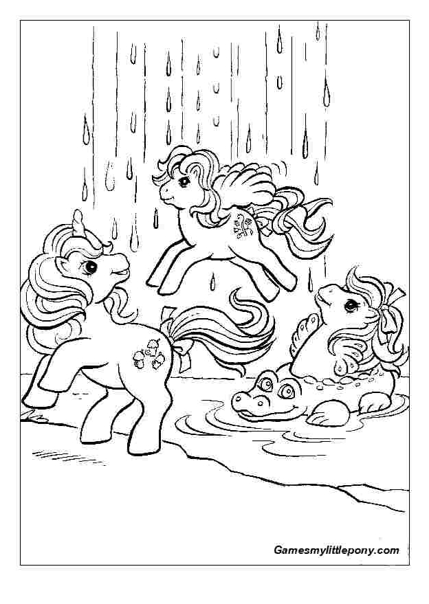 Ponies At waterfall  from My Little Pony Coloring Page