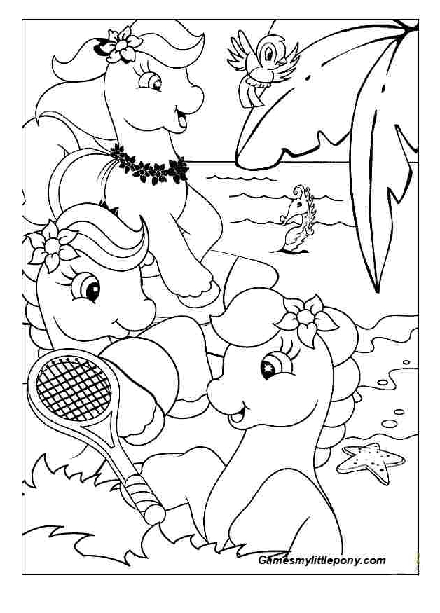 Ponies On The Beach  from My Little Pony Coloring Page