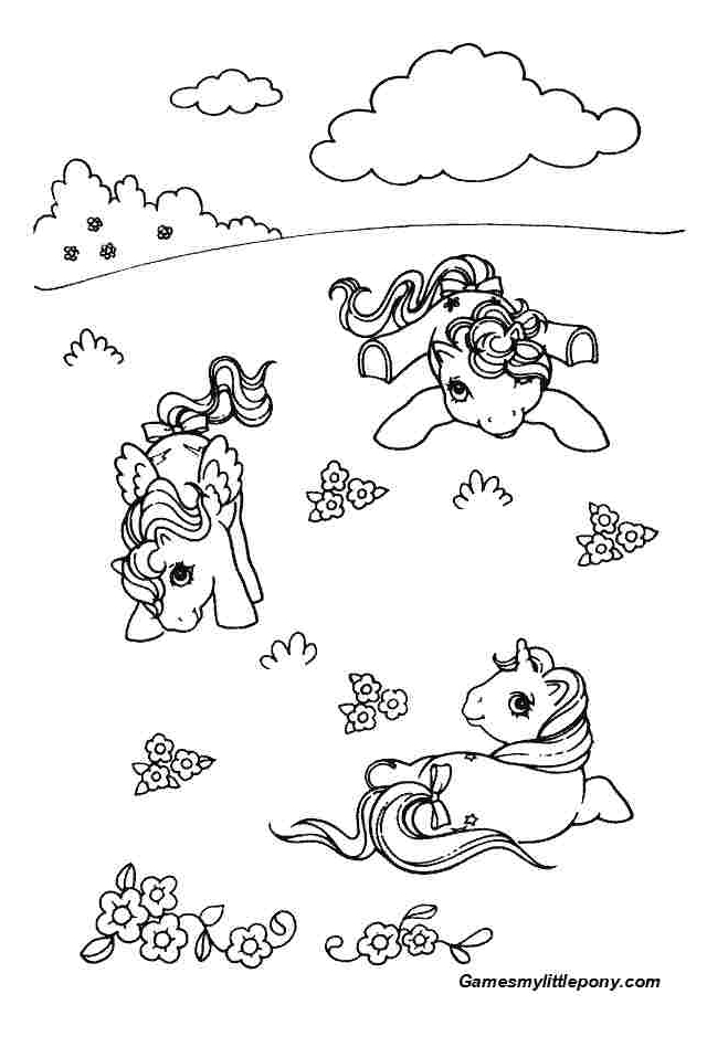 Little Ponies In The Field  from My Little Pony Coloring Page