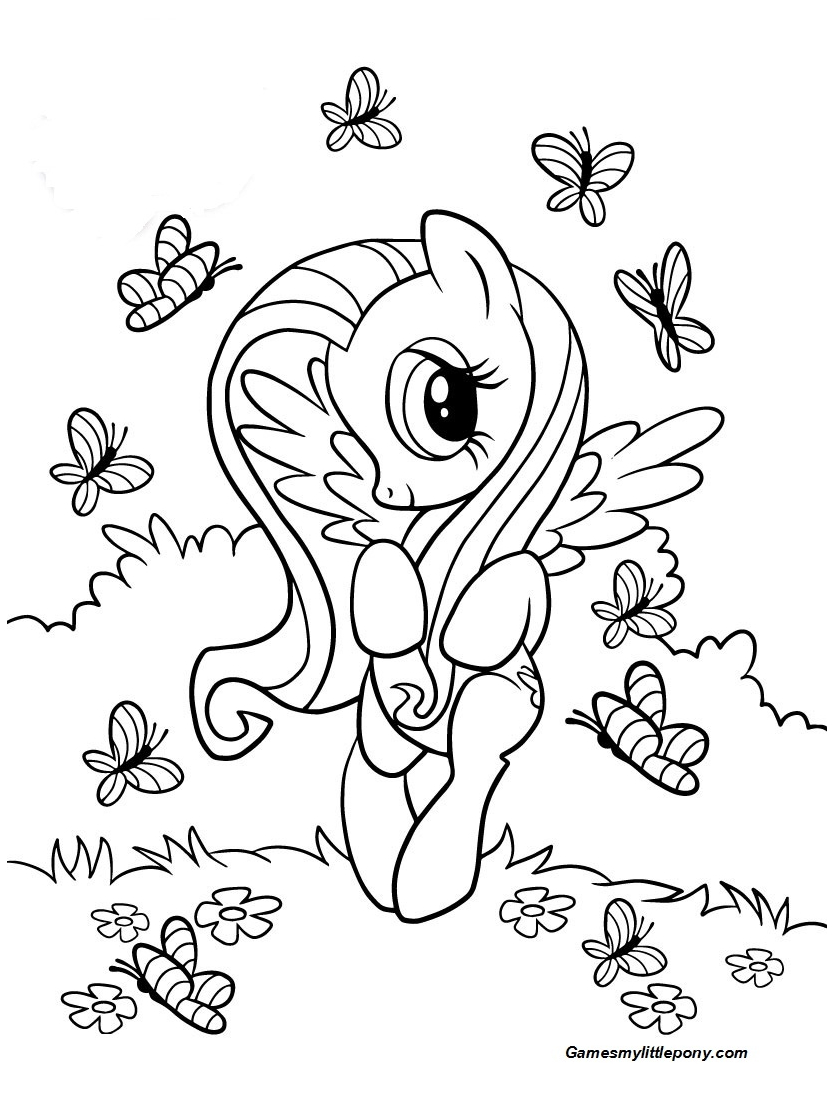 Fluttershy And Butterflies  Coloring Page