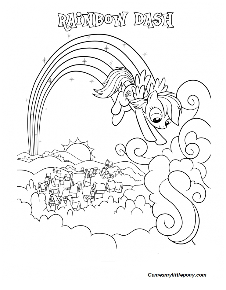 Coloring book My Little Pony: Rainbow Dash over Ponyville Coloring Page