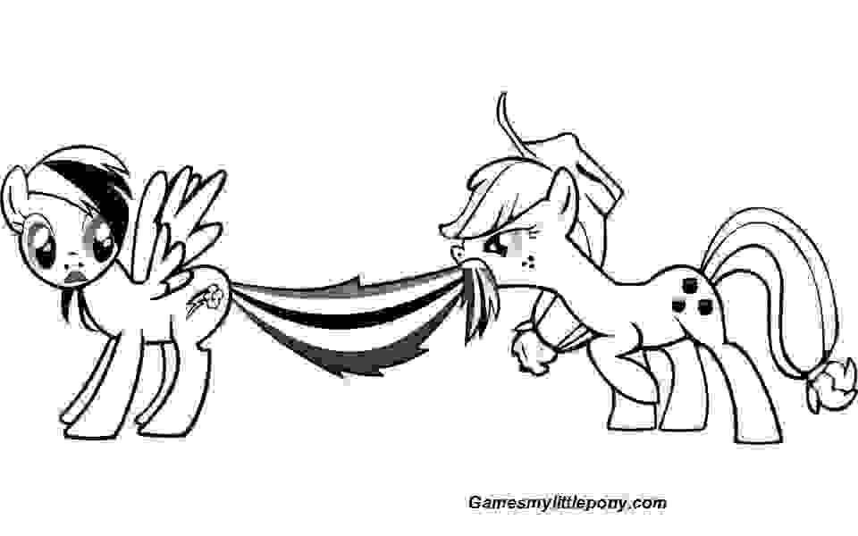 Funny Rainbow Dash and Applejack  Coloring Page