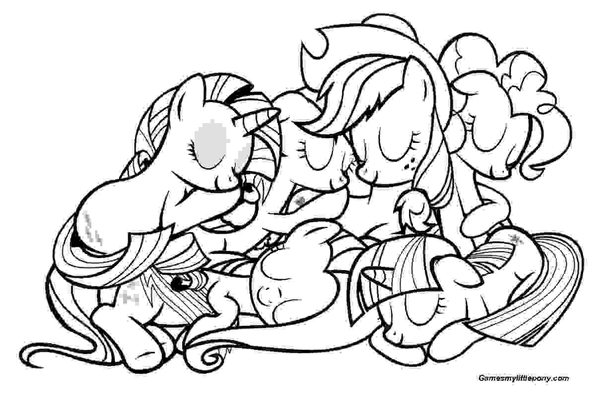Relax with the Pony Family Coloring Page