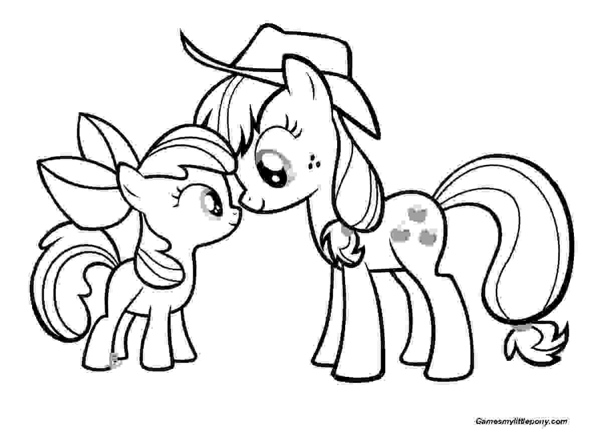 Mother and Baby Pony  Coloring Page