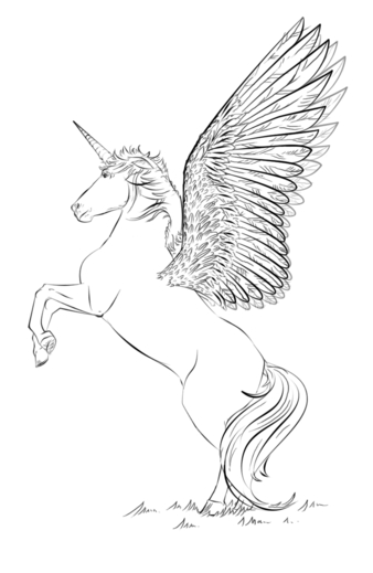 Unicorn With Wings Coloring Page Coloring Page