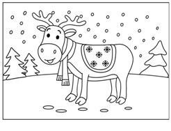 Christmas Reindeer 2021  Coloring Page