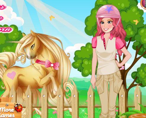 Princess Barbie Goes Unicorn Riding Game