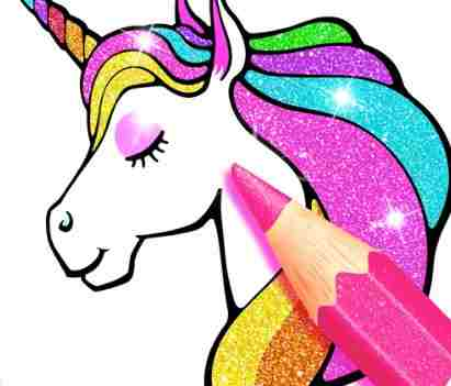 Unicorn Coloring Book Glitter Game